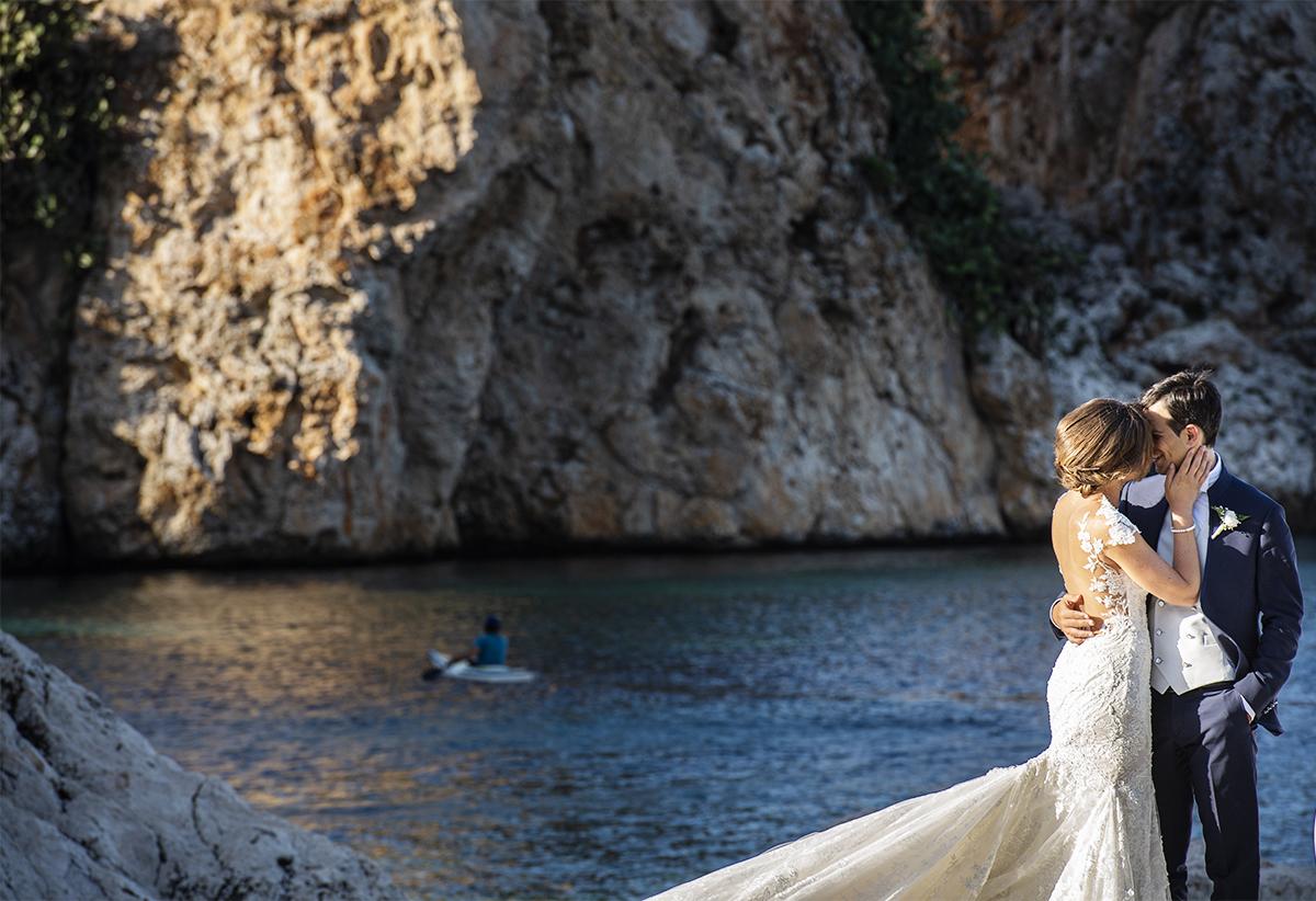 Foto del matrimonio panoramica dei Faraglioni di Scopello